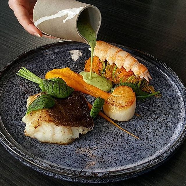 Cod, langoustine, scallop, carrot vermicelli, dill burren blanc. ✅ By - @vidal31 at @vastergarden ✅ . #ChefsOfInstagram . 🚨 www.ChefsOF.com 🚨