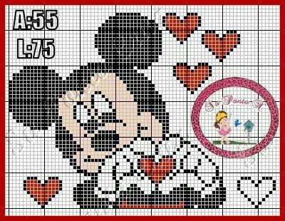 Mickey Mouse x-stitch hearts