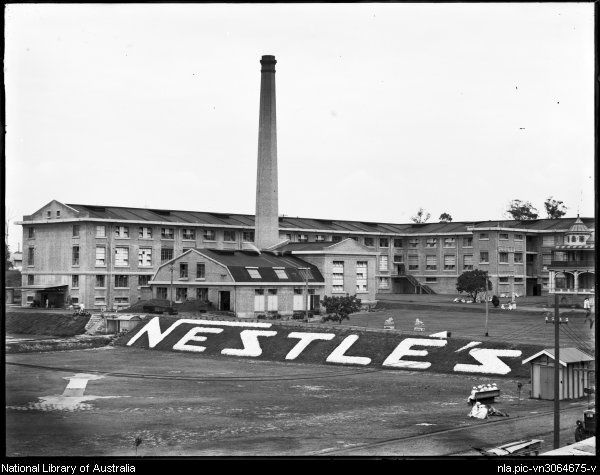 Nestle's Company chocolate factory, Abbotsford, Sydney. Historic Abbotsford House can just be seen far right. The factory is now gone but the house remains, although it's surrounded by modern housing development.