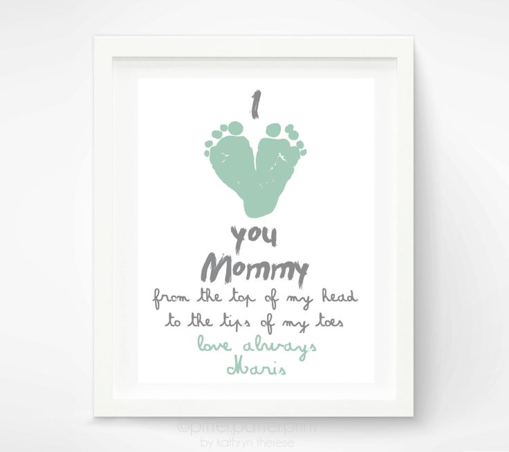 Mother S Day Gift For New Mom Personalized I Love You Mommy Baby Footprint Art Your Child Feet 8x10 Inches Unframed