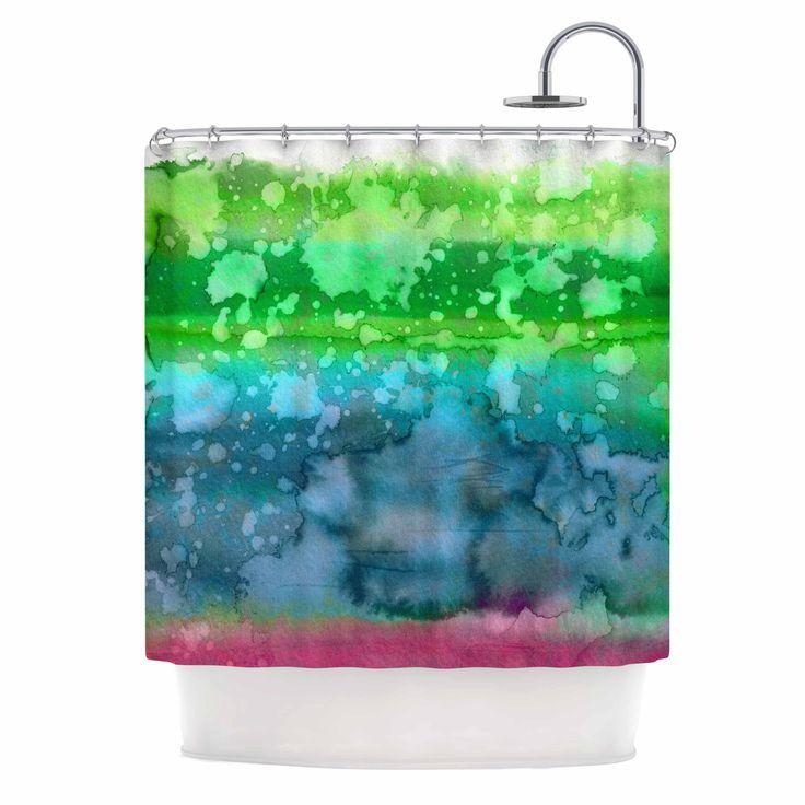 "Kess InHouse Ebi Emporium ""California Surf 1"" Green Teal Shower Curtain"