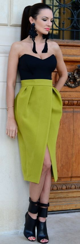 Lime Green Statement Skirt Fall Street Style women fashion outfit clothing stylish apparel @roressclothes closet ideas