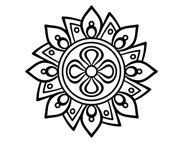 Dibujo de Mandala flor sencilla para Colorear