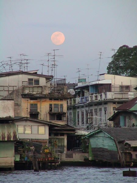 Chao Phraya River in Bangkok, Thailand...I love that the moon has soothed the surroundings