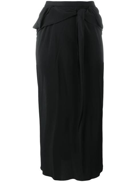 RICK OWENS Tied Front Straight Skirt. #rickowens #cloth #skirt