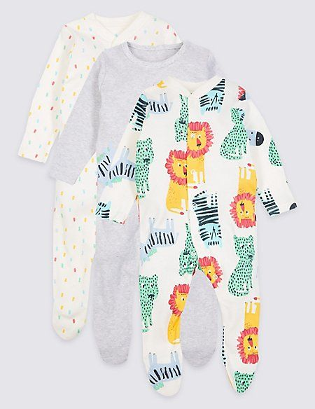 50dd81891a5 3 Pack Pure Cotton Sleepsuits