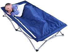 Regalo My Cot Deluxe Portable Bed Navy - has a washable fitted sleeping bag with removable pillow included.  Use this portable kids sleep cot indoors or outdoors.  Great for travel, sleepovers, transition from crib to big bed, daycares and more...