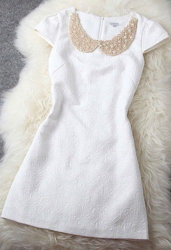 Sweet White Shining Beading Party Dress