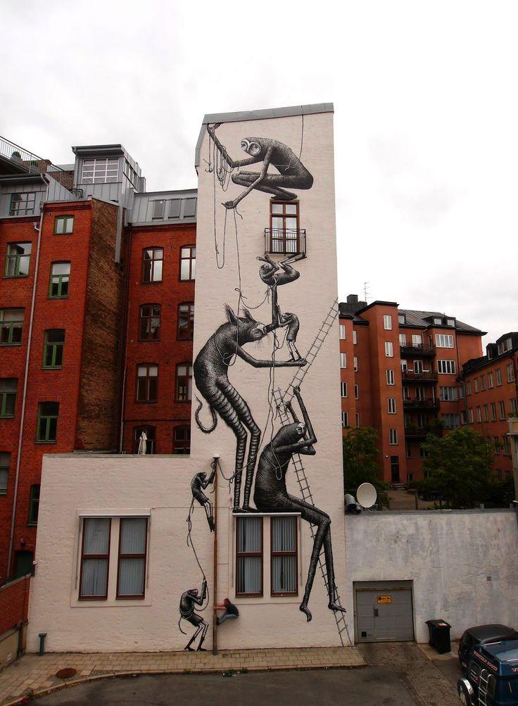 Street art in Malmö.  #owegoo #malmö #travel #sweden #scandinavia #streetart #phlegm #art