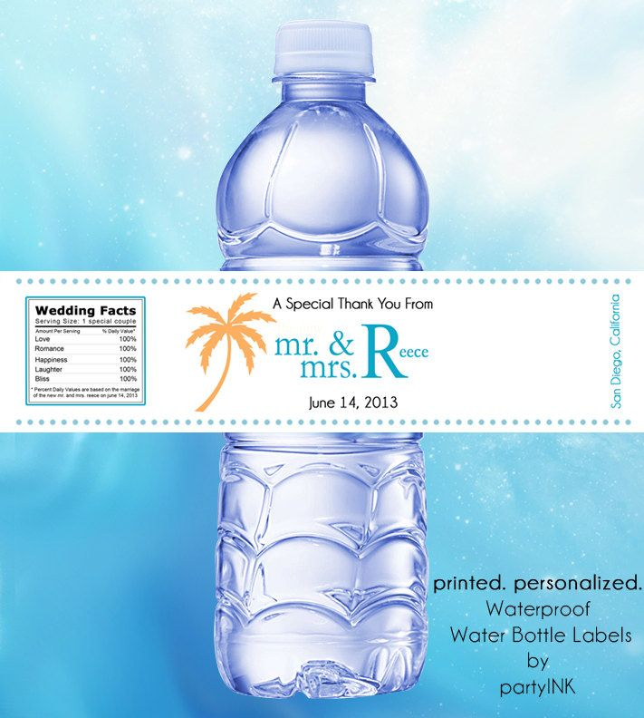 Tropical Palm Tree Personalized Waterproof Water Bottle Labels - Wedding Favors, Destination, OOT Guest Bag  - Set of (25) by partyINK on Etsy