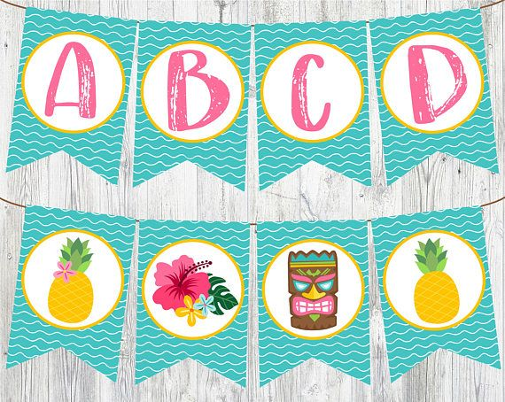 Full Alphabet Luau Banner. Printable Banner for Luau Birthday