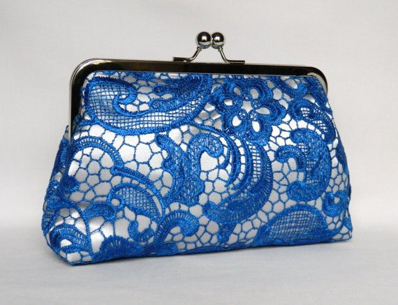 Blue Lace Clutch Royal Blue and Silver Lace by TheHeartLabel
