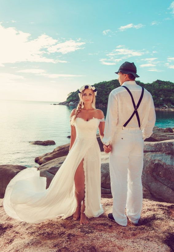 lace and chiffon off the shoulder sexy slit beach wedding dress