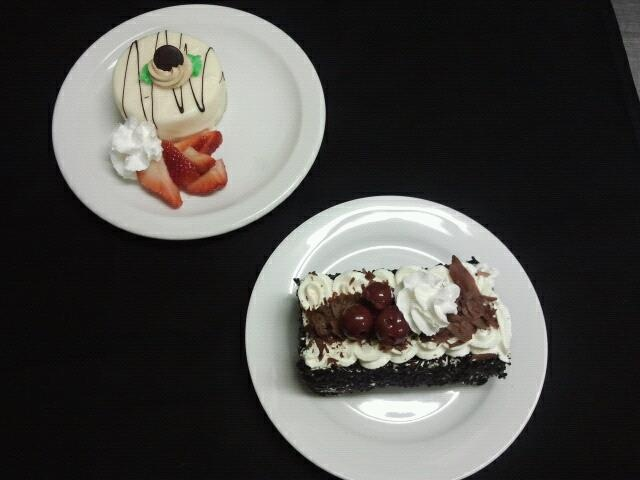 Our wonderful white chocolate cheese cake and black forest cake for our friends at Desert Cove. — at The Cattlemen's Club Restaurant. (250) 542 - 2178.