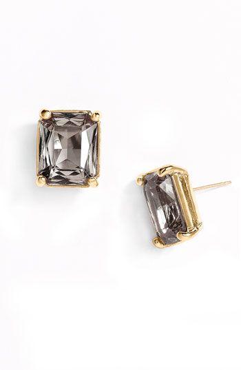 kate space emerald cut stud earrings.