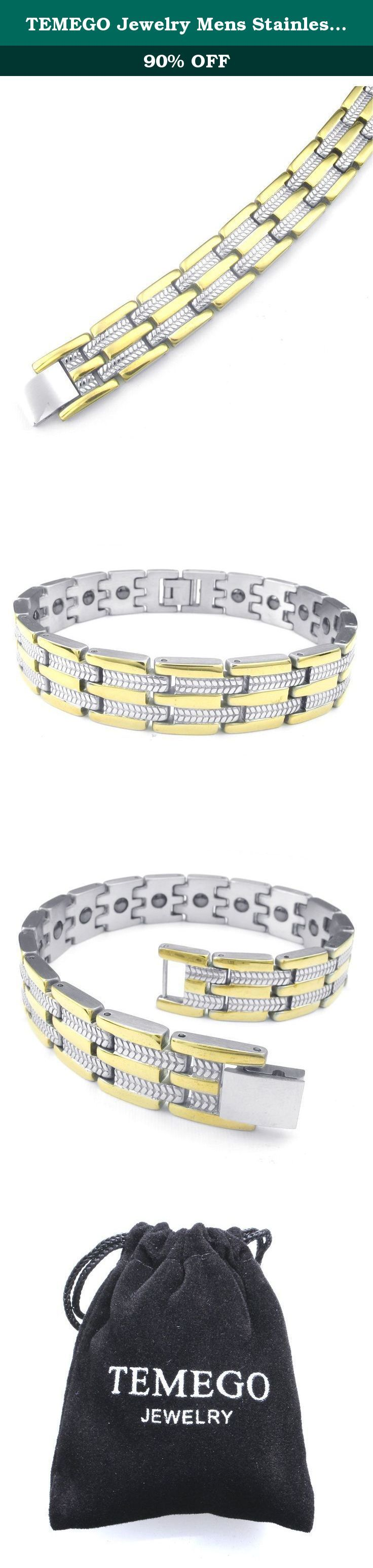 TEMEGO Jewelry Mens Stainless Steel Bracelet, Classic Wide Biker Links Cuff Bangle, Golden Silver. Stainless Steel Jeweley has gained increasing popularity in men's jewelry. It does not tarnish and oxidized, which can last longer than other types of jewelry. Stainless steel jewelry has an amazing property of anti-allergice since they are often made without nickel.