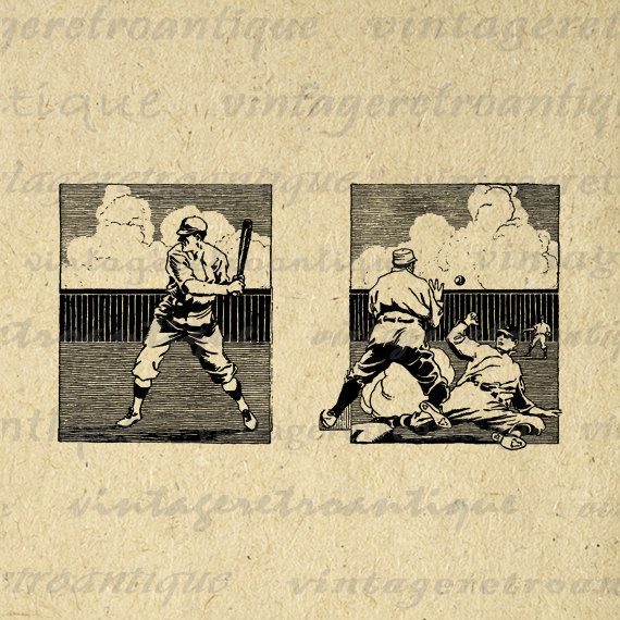 Baseball Printable Image Digital Baseball Players Download Sports Graphic Antique Clip Art. High quality digital image graphic. This vintage printable digital artwork is great for iron on transfers, printing, pillows, tote bags, t-shirts, tea towels, and more great uses. Real antique clip art. Great for etsy products. This image is high quality and high resolution at size 8½ x 11 inches. Transparent background version included with every digital image.