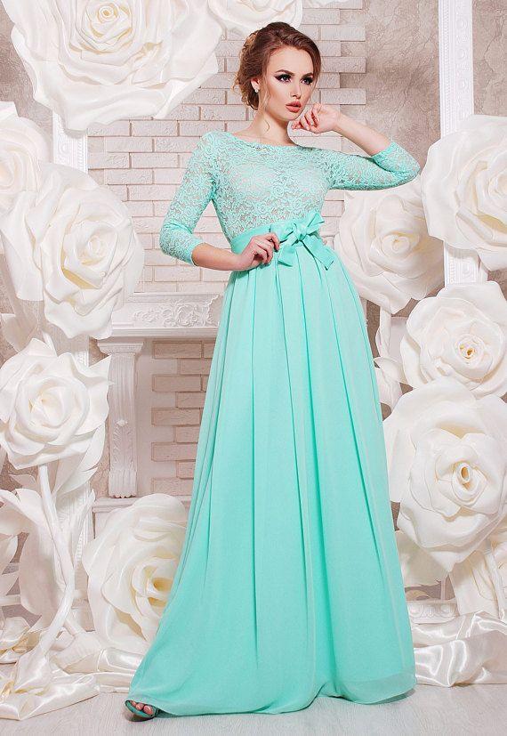 Mint langes Kleid Brautjungfer Abendkleid Hochzeit in Mint