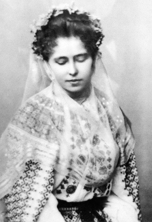 Crown Princess Marie of Romania wearing a traditional Romanian port.