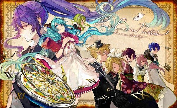 Vocaloid Kamui Gakupo, Hatsune Miku, Kaito, Meiko, Megurine Luka, Kagmeine Rin and Len