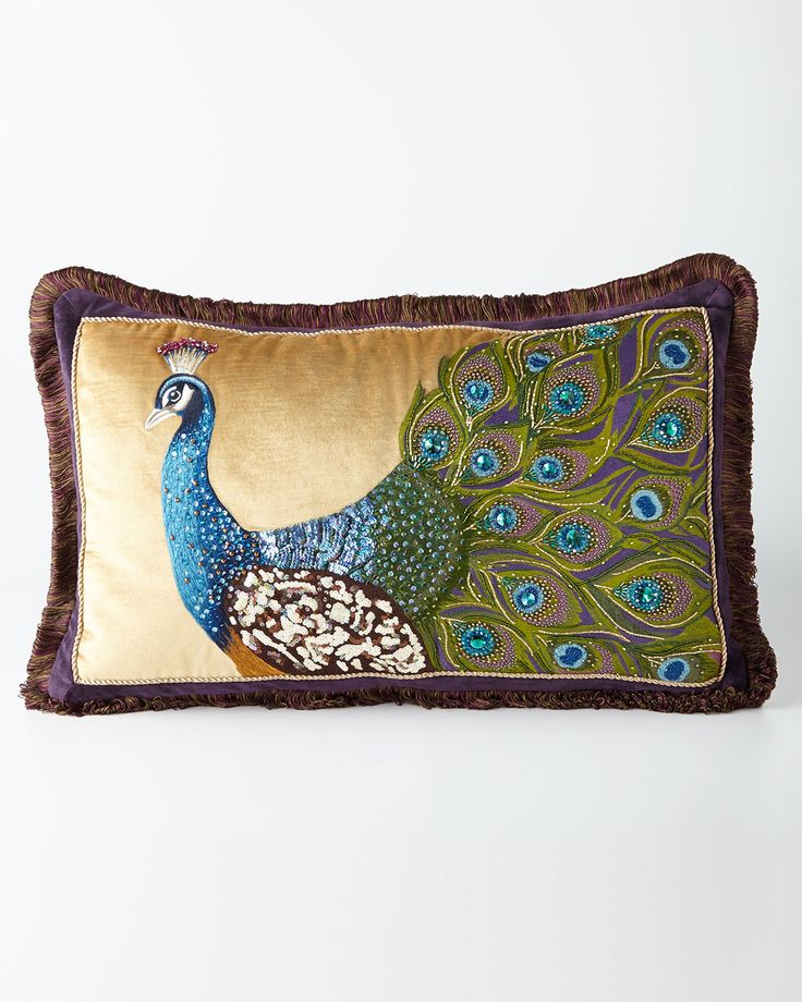 "Jay Strongwater Peacock Pillow, 26"" x 16"" - A regal peacock adorns the face of this stunning decorative pillow, adding exotic appeal. Made of cotton/polyester velvet. Hand embroidered with silk thread. Embellished with Swarovski® crystals and glass beads. 26"" x 16"".   $995.00"