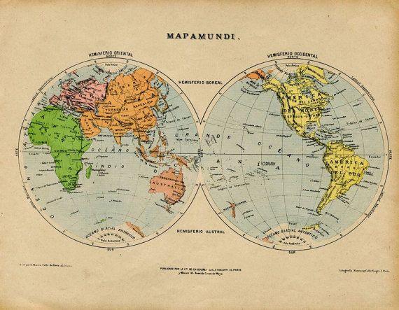 1905 Antique World Map in Hemispheres World by CarambasVintage
