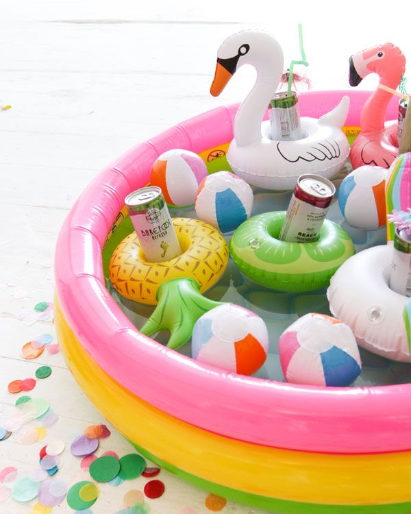 Destination bachelorette party idea - mini pool drink holders + fun blow up pool cooler {Courtesy of Oh Happy Day}