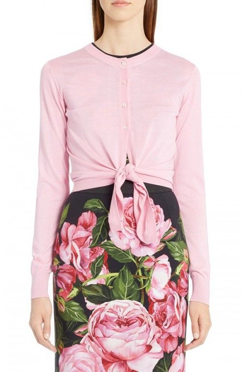 Dolce+Gabbana+Women's+Silk+Tie+Front+Cardigan+|+Sweater+and+Clothing
