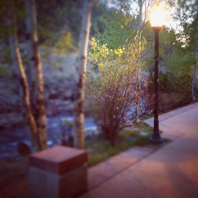 Last rays of sun along the Riverwalk in downtown Estes Park outside Poppy's. Perfect ending to the day.