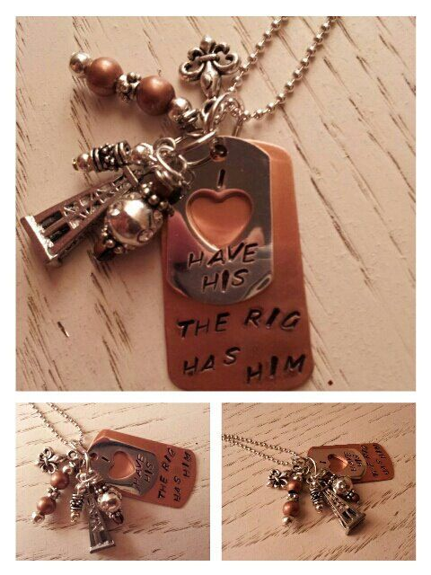 Copper & Silver Hand Stamped Oilfield Wife by AimsFavoriteThings, $23.00