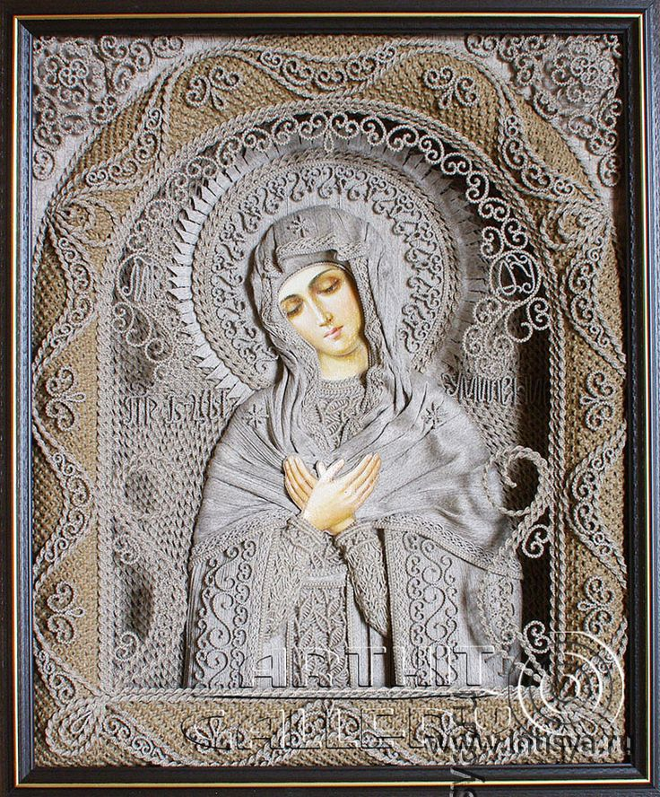 """Spiritual macrame by Vladimir Denshchikov - the only person in the world that creates icons of (0.5-2 mm) linen thread, each knot is tied by hand, ie without the use of technical equipment (needles, hooks etc.). All are made in the technique """"knot weaving"""" in which he has more than 30 years experience. Each piece has from one to several million knots. Vladimir is the founder of several types of """"man-made fabrics"""" which are used to create garments and robes of the saints."""