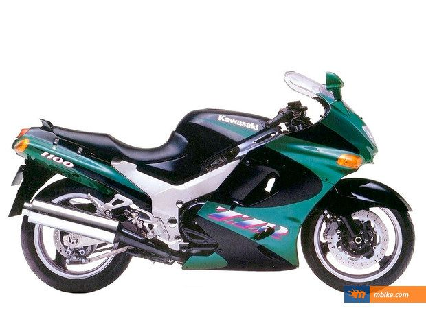 Kawasaki ZZR 1100, 1993 model.  One of the best on the road at the time.  A solid ride.