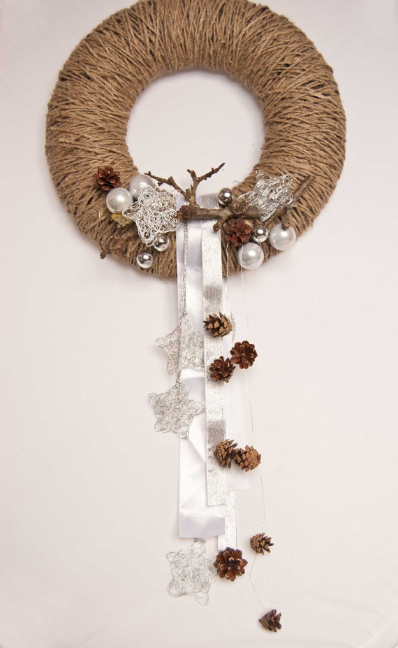 Pinecone wreath  Holiday wreath   Winter wreath  14 inch by kaleda, $30.00