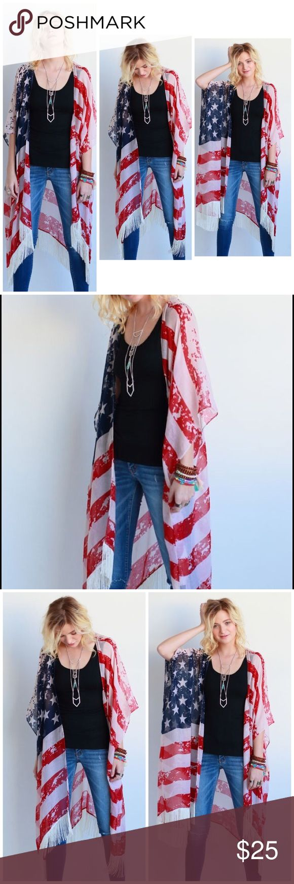 American flag kimono forth of july New great quality and great for 4th of July!! Jackets & Coats