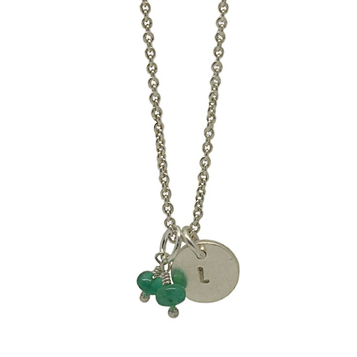 Personalised Disc Necklace with emeralds