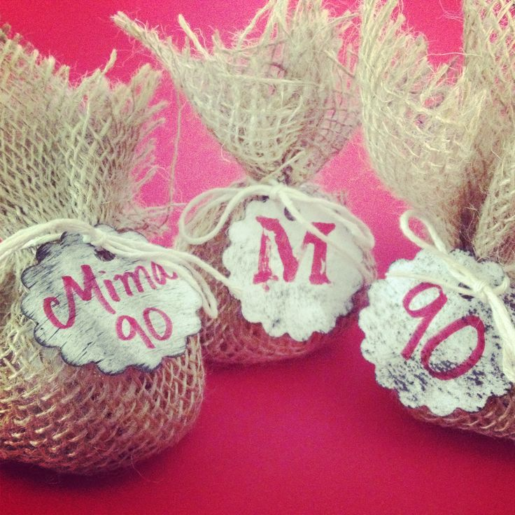Colombian Party- favors made of burlap cloth and twine inside filled with coffee flavored candy