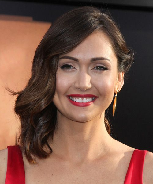 Jessica Chobot Hairstyle - Medium Wavy Formal - Medium Brunette. Click on the image to try on this hairstyle and view styling steps!