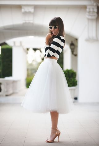 Black and white crop top with white tulle midi skirt / Fancy going out outfit / Shower outfit / Brunch outfit