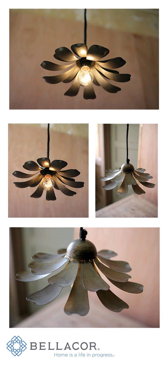 The Raw Metal Flower One-Light Pendant is a beautiful fixture for modern homes with a touch of the classic aesthetic. Its elegant open petals give a unique personality, bringing the freshness of nature inside your home. http://www.bellacor.com/productdetail/kalalou-nnl2331-raw-metal-flower-one-light-pendant-1563973.htm?partid=social_pinterestad_1563973
