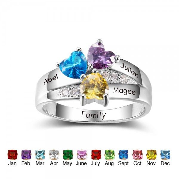 Customised Gift Ideas for Women Promise Ring Personalised silver ring for women Custom Engraved Names Ring Birthstone Ring Mother Gift