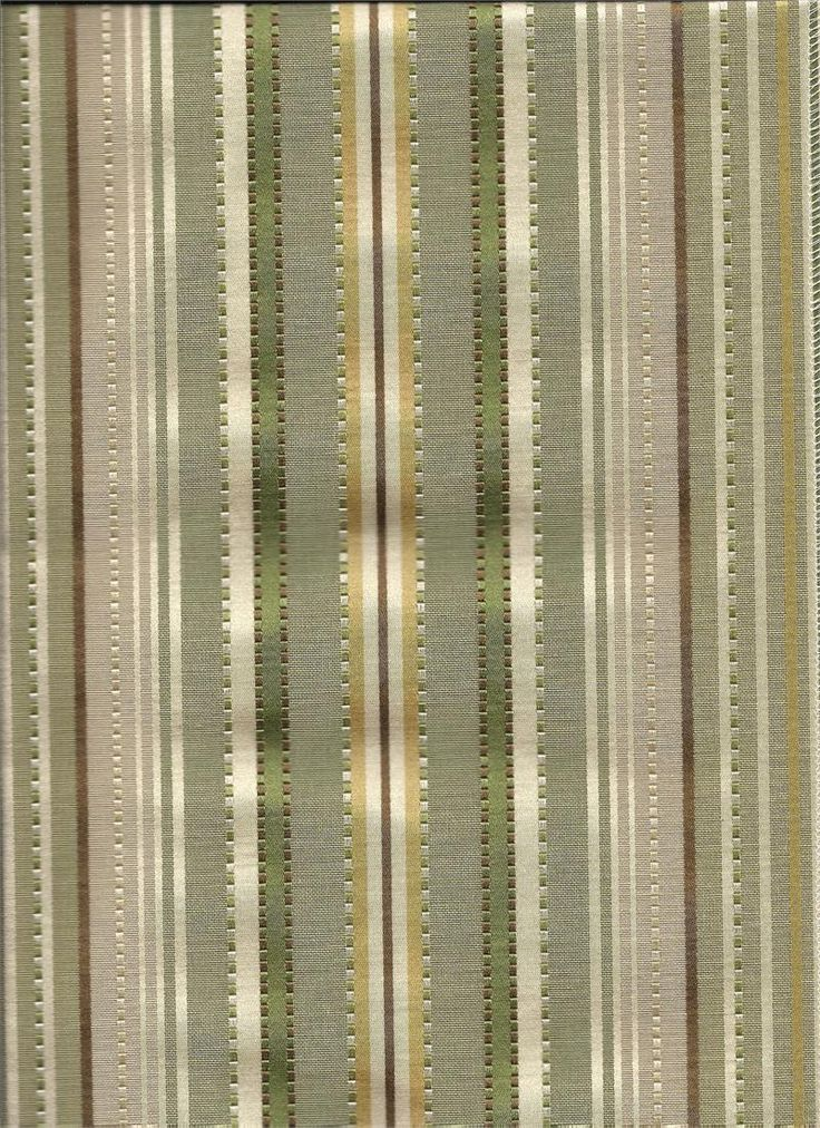 Kent Stripe Custom Tier Curtains In Grass Color Stripes Of Green Chocolate Brown Gold And