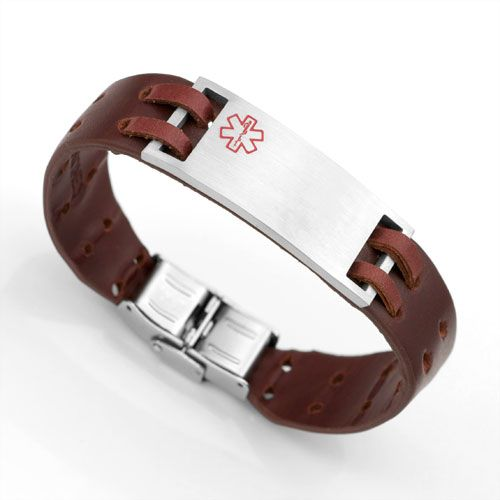 Brown Leather Medical Alert Bracelet Epilepsy The Battle For My Son Pinterest Id Bracelets And Diabetes
