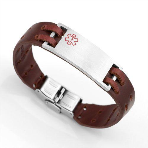 Brown Leather Medical Alert Bracelet