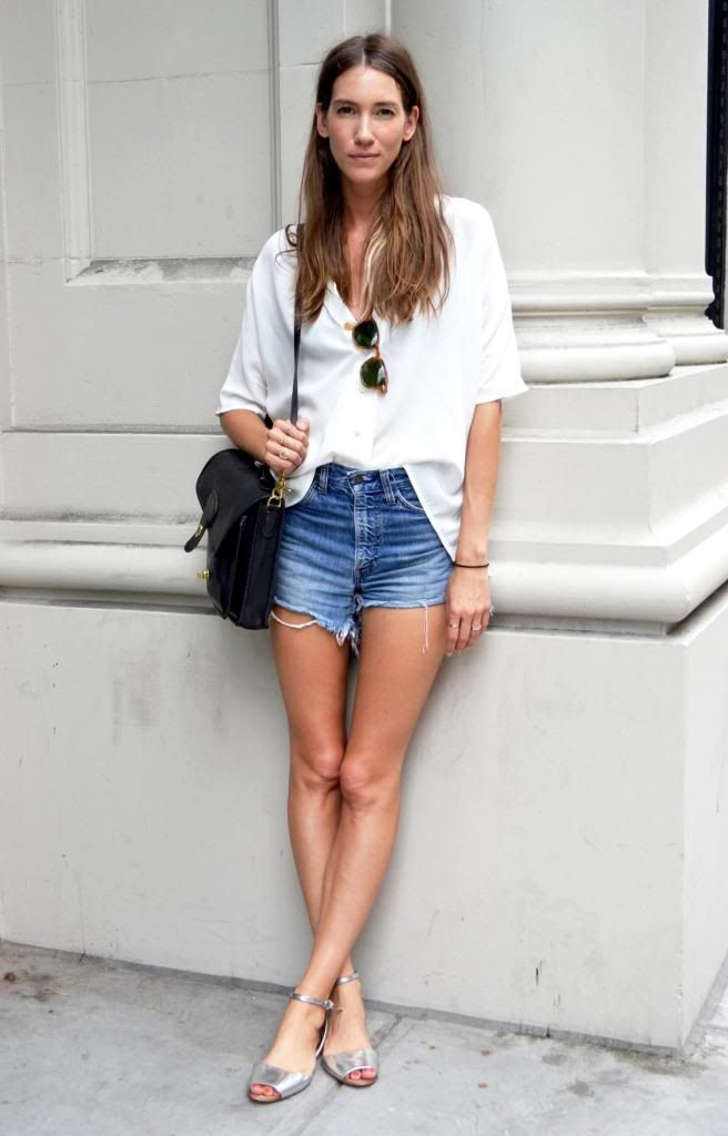 Le Fashion Blog - New York Street Style - Summer Casual - Slouchy White Shirt, Cut Offs and Silver Sandals