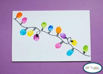 Fingerprint Christmas Lights-This Would Make A Cute Homemade Christmas Card