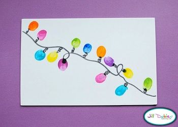 Fingerprint Christmas Lights-This Would Make A Cute Homemade Christmas Card
