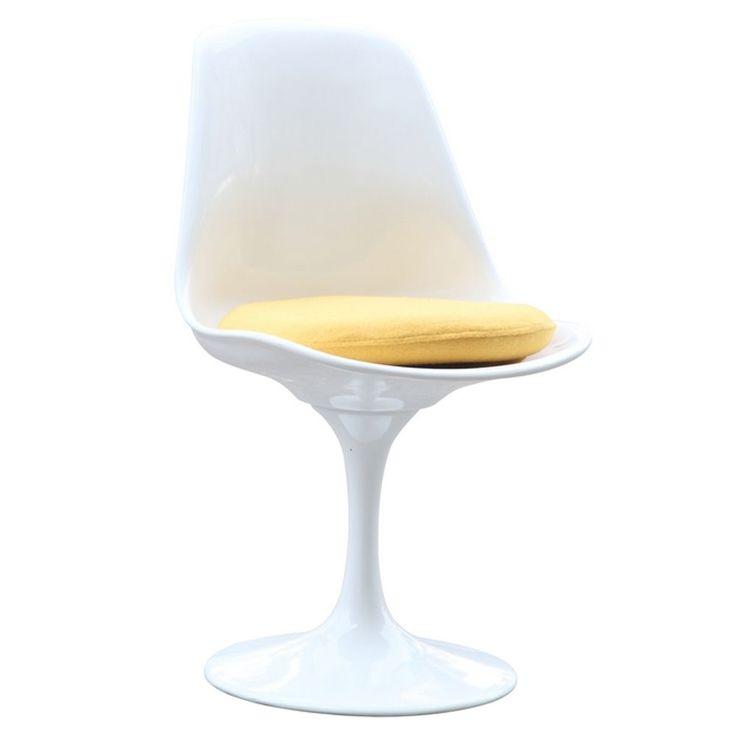 White Flower Side Chair (White Flower Side Chair -Yellow Seat Pad), Yellow (Aluminum)