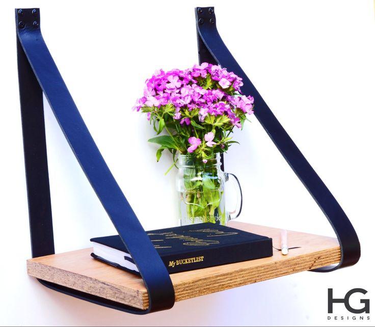Black Leather Strap Hanging Bedside Table Shelf- Veneer Plywood Timber by HandGDesign on Etsy https://www.etsy.com/listing/219177057/black-leather-strap-hanging-bedside