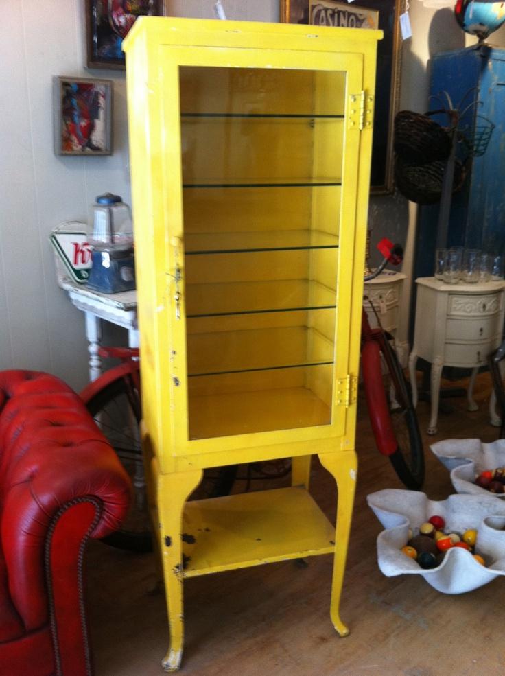 Vintage Industrial Medical Dental Cabinet Original Glass Shelves NICE