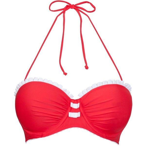 Kelly Brook Red Frill Bikini Top ($16) ❤ liked on Polyvore featuring swimwear, bikinis, bikini tops, bathing suits, swim, flutter bikini top, bow bikini top, underwire bras, flounce bikini top and red bikini top